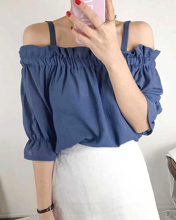 Frill off shoulder shearing blouse 2color