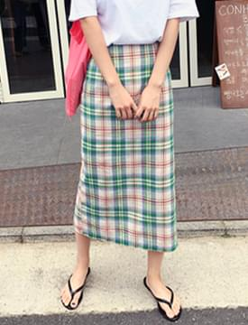 Linen check long skirt_H (size : S,M)