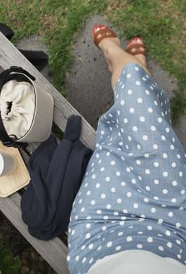 Linen dot skirt