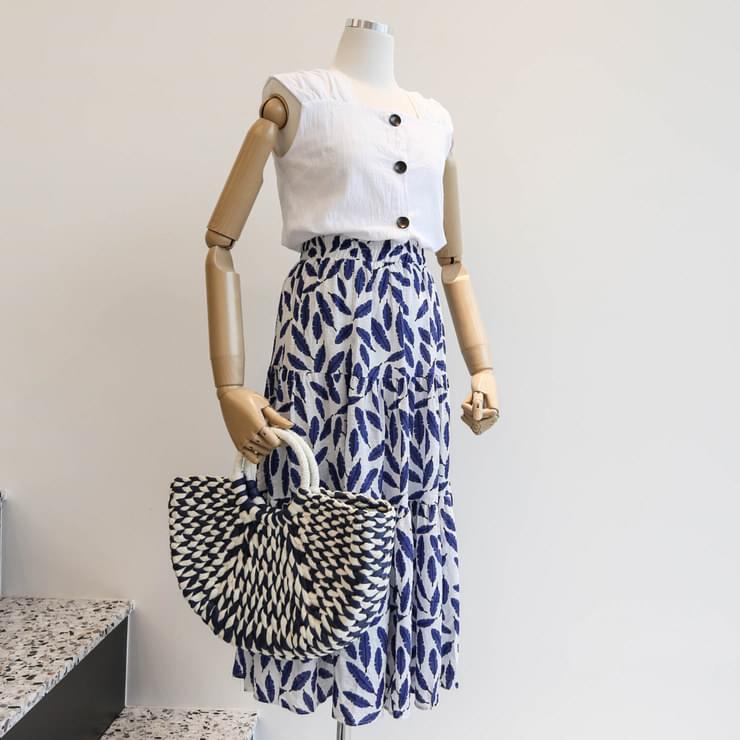 Linen Sleeveless Navy Leaf Bending Skirt Coordinate Set _stsw02541