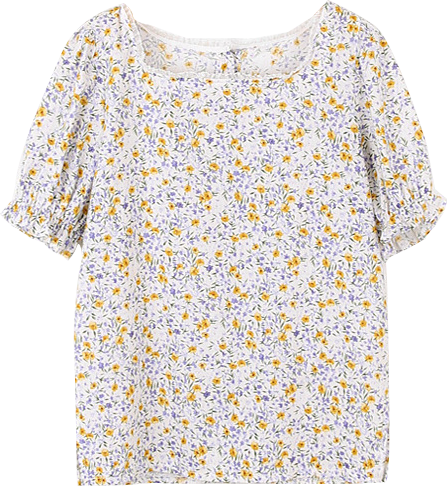 Flower Puff Short Sleeve Blouse
