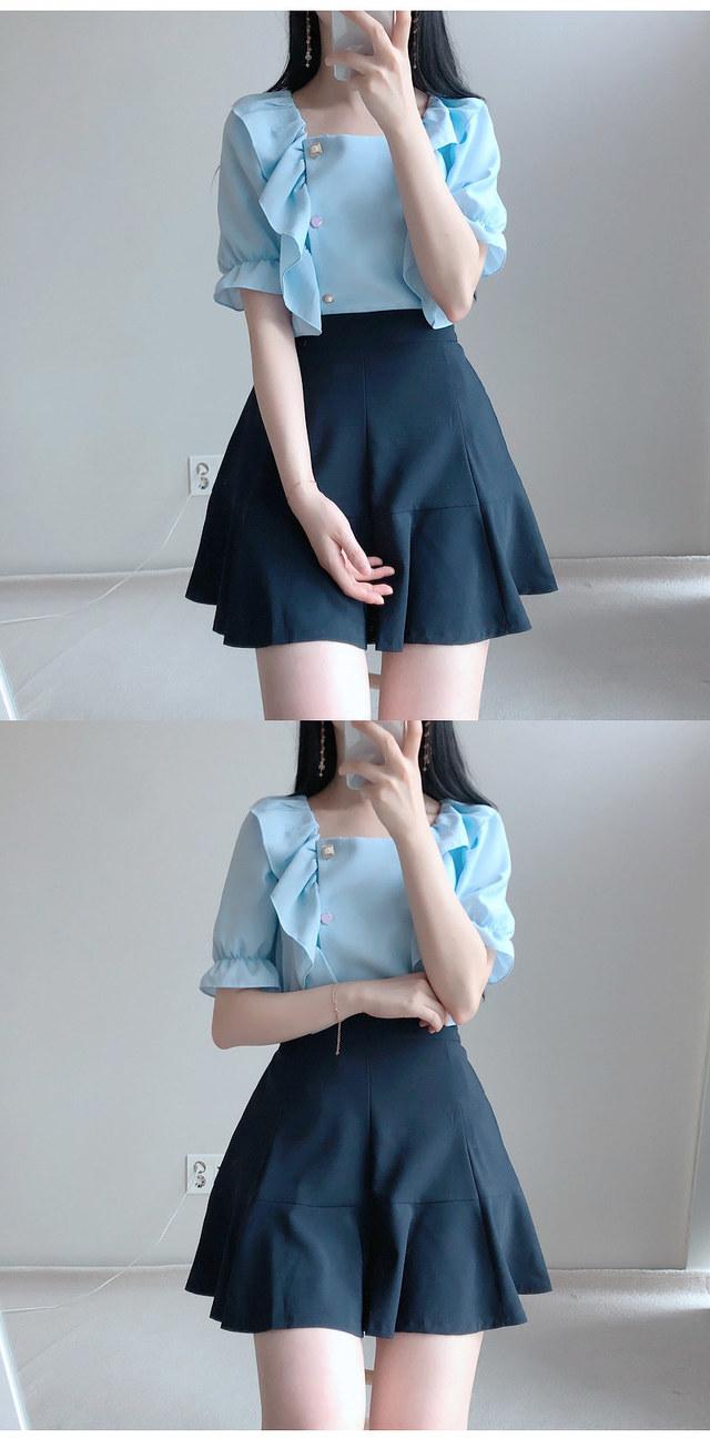 Pitch jewel ruffle ♥ blouse