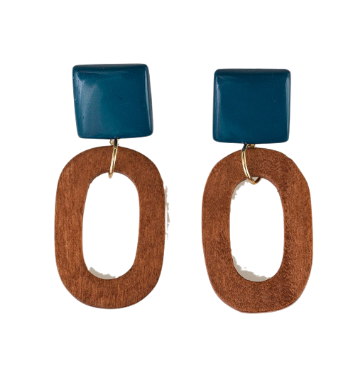 retro wood pendant earring