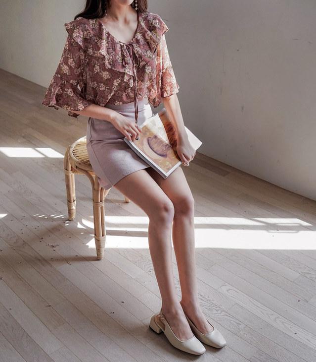 Cream pink flower blouse