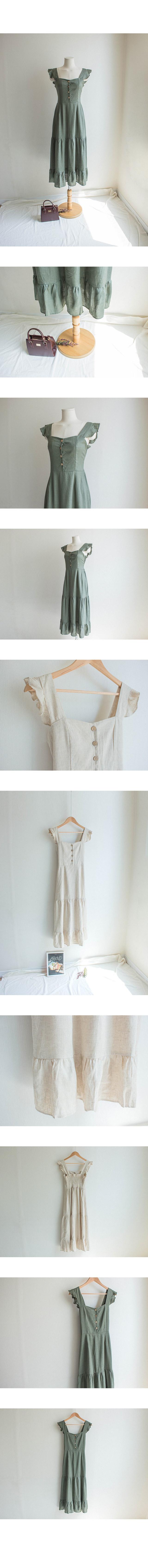 Ruffle Sleeveless Button Long Dress
