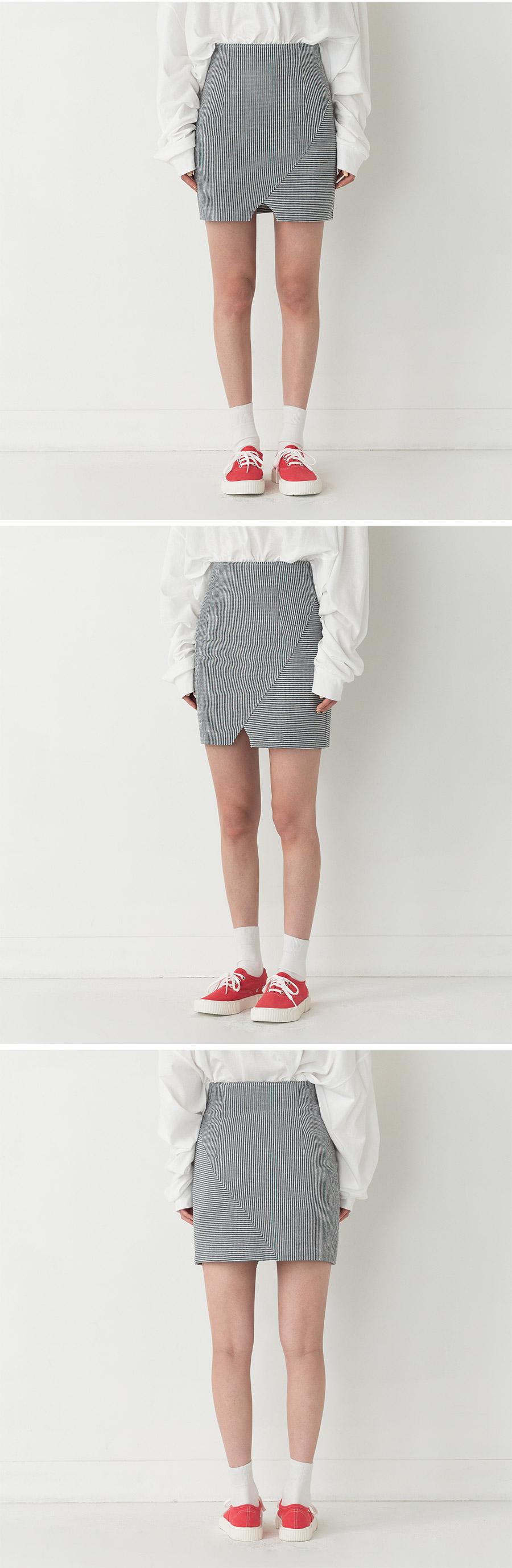 H-line slit point stripe pattern skirt