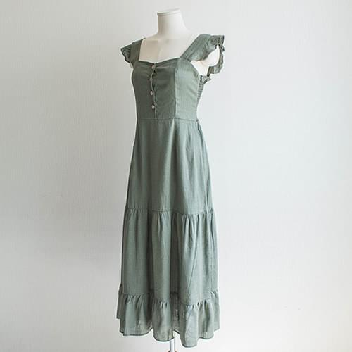 Ruffle Sleeveless Button Long Dress