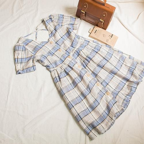 Marl Linen Button Check Dress