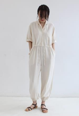 Cotton jogger jumpsuit (2colors)