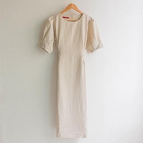 Ello Puff Sleeve Ribbon Check Long Dress
