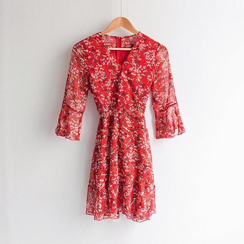 Athena V Neck Chiffon Wrap Flower Dress