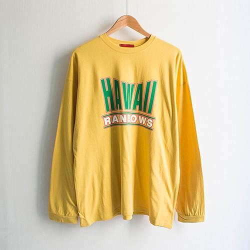 하와이 레인보우 라운드 레터링 티셔츠