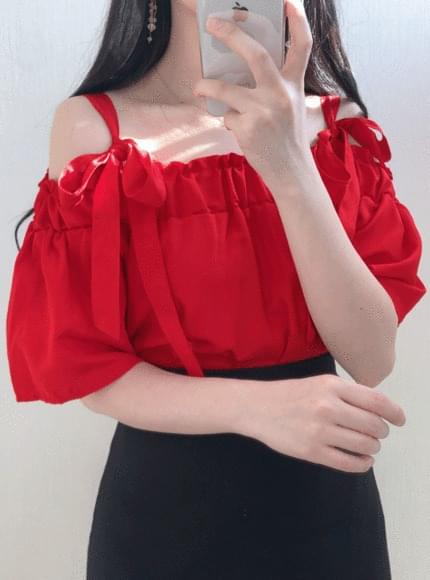 Red ribbon off shoulder blouse