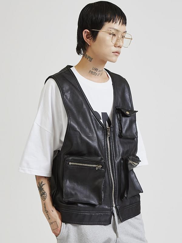 vintage leather vest (2 color) - UNISEX