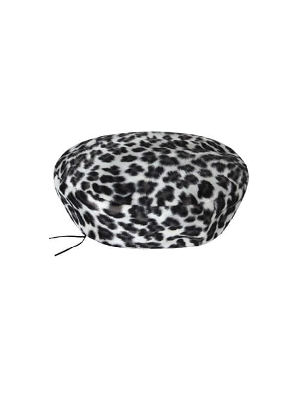 white leopard beret
