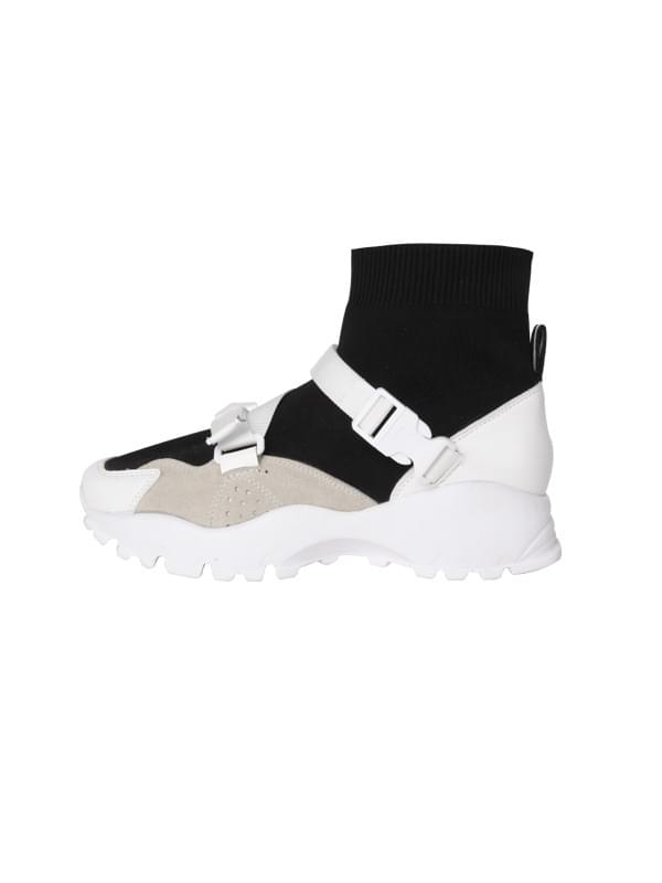 high neck buckle sneakers (2 color)