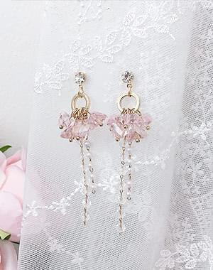 Cubic flower earrings