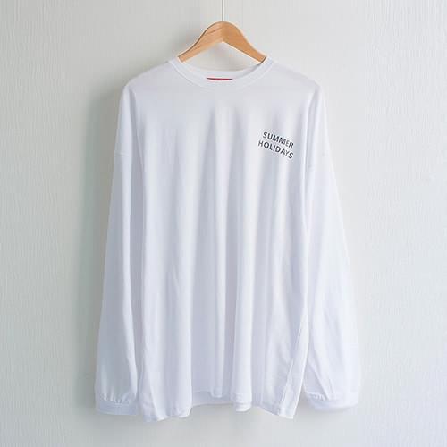 썸머 홀리데이 라운드 박시 롱 티셔츠