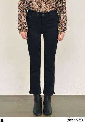 HAVE SLIT BLACK DENIM PANTS