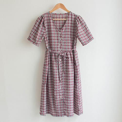 Keshi linen pocket check dress