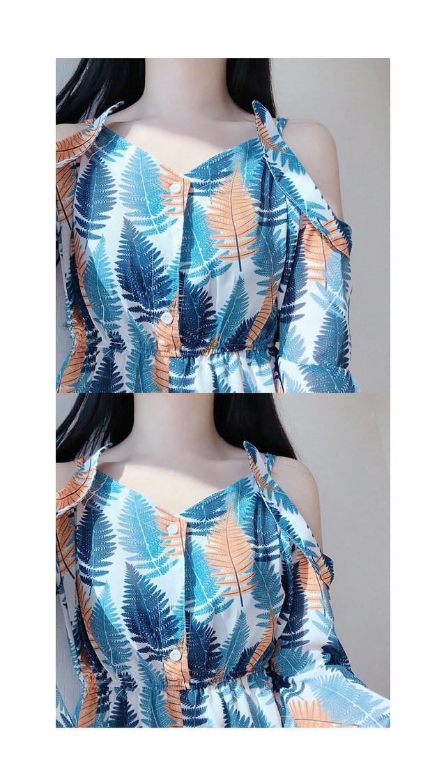 Palm tree off shoulder jump suit