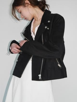 soft real suede rider jacket (2colors)