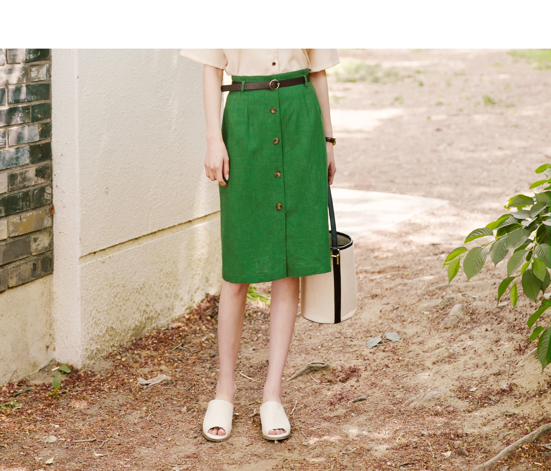 LINEN BELT SET BUTTON SKIRT