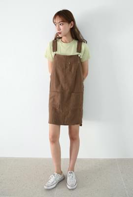 Casual linen suspender one-piece