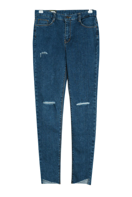 Running knee-cut denim skinny