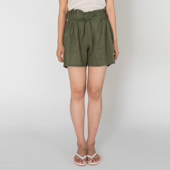 Frill Linen Bending Short Pants