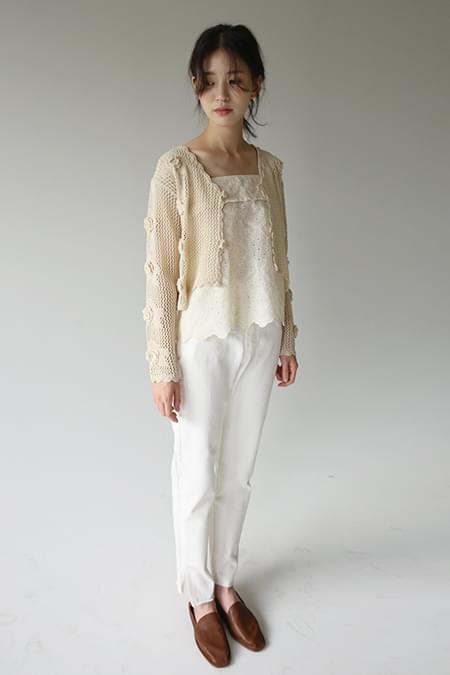 rose light crop cardigan (2colors)