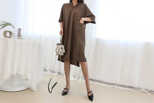 Loose Piece One Pocket Dress _op2679