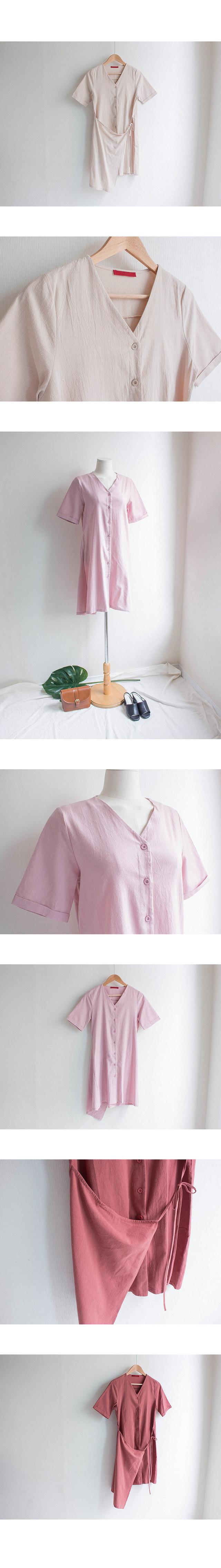 Wash V neck wrap mini linen dress