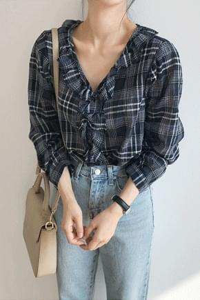 Shu A check frilly blouse ★ order rush!