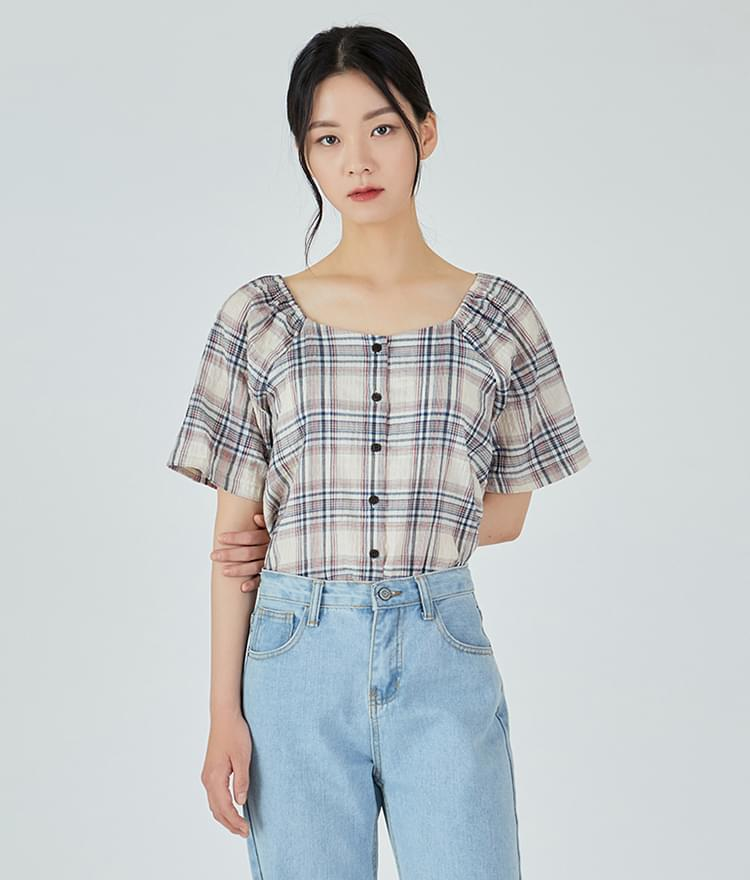 Two-way Checked Blouse
