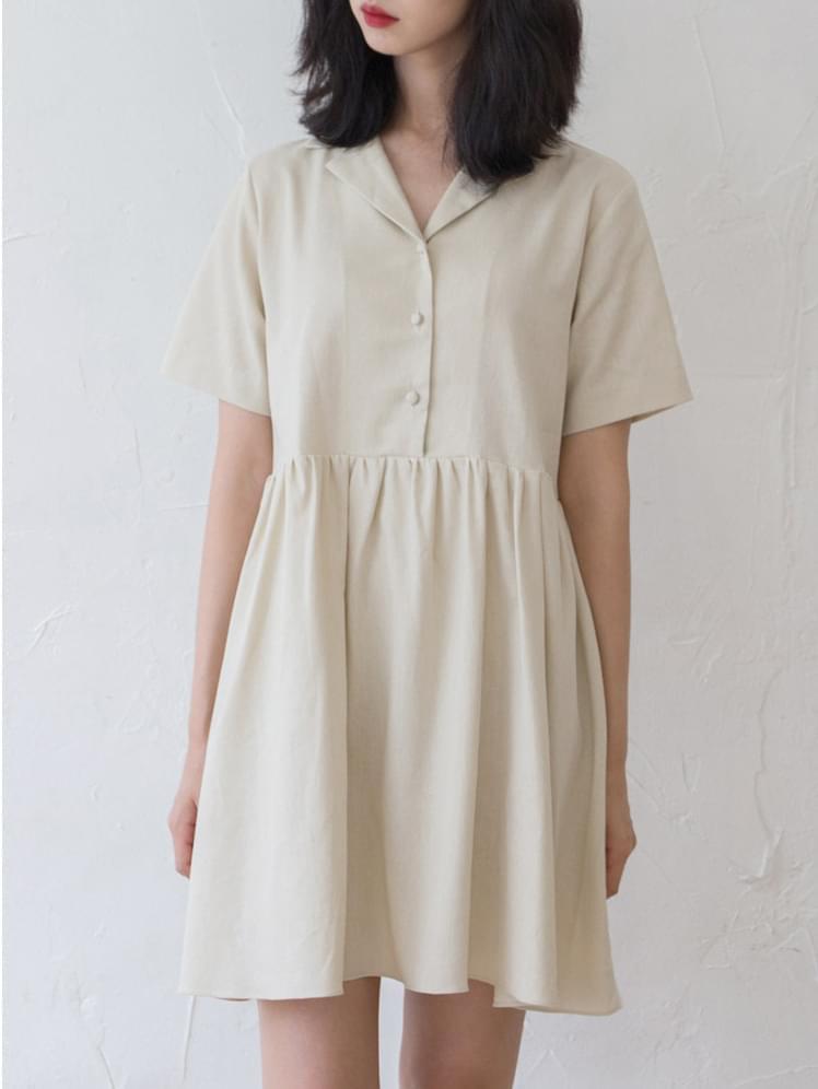 Beige Daily Linen Dress