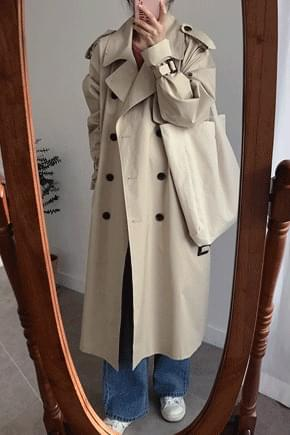 Number One Loose Fit Trench Coat-Brick, Beige