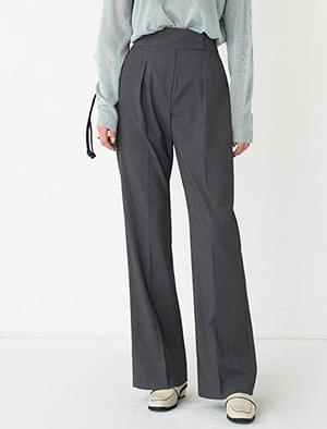 waist button pintuck maxi slacks