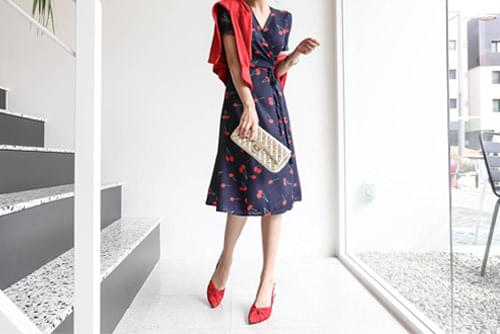 Cherry Printing Lap Long Dress _op02707