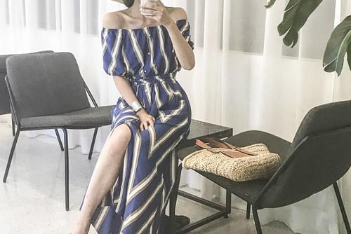 Blue Stripe Long Maxi Dress _op02524