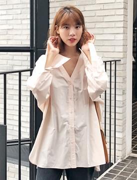 Skin cotton v-neck shirts_S (size : free)