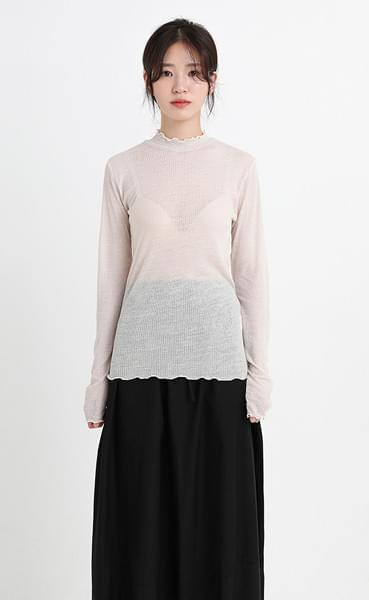 half neck see-through wave tee (5colors)