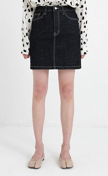 stitch denim mini skirt