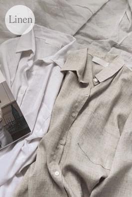 후포켓린넨셔츠