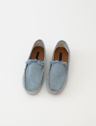 denim texture fringe shoes (3colors)