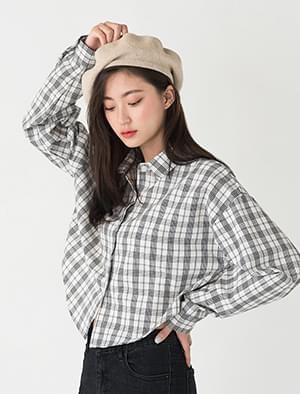 semi crop check shirts