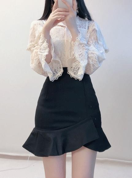 Mayu lace see-through blouse