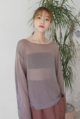See through boat neck knit