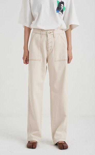 stitch long free cotton pants (2colors)