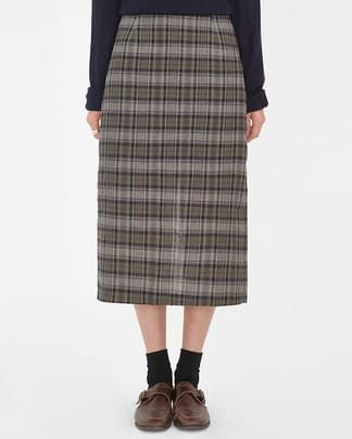 kelly check long skirt (s, m)